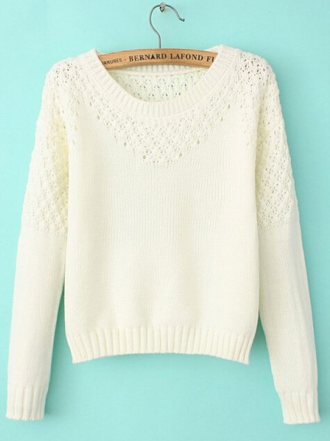 White crochet long sleeve pullover sweater