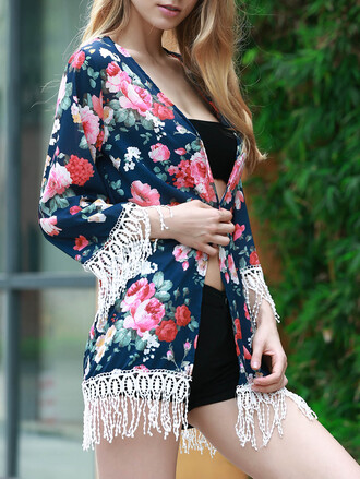 cardigan dressfo floral fringes summer outfits boho chic black