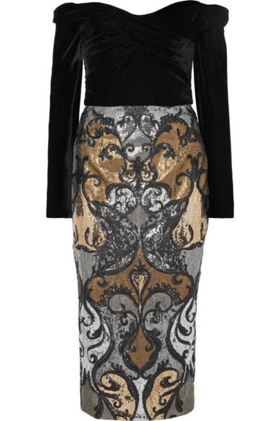 Marchesa Notte - Off-the-shoulder Velvet And Sequined Tulle Dress - Black