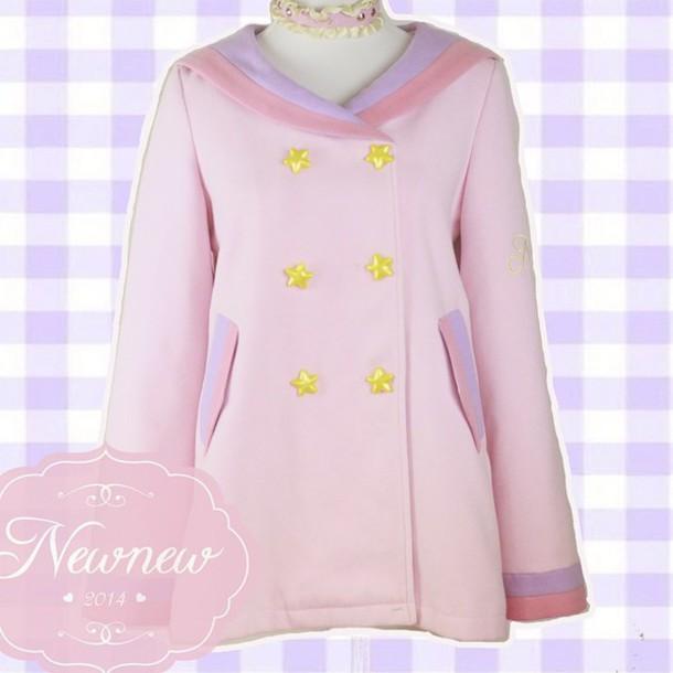 jacket winter jacket winter coat pastel pink yellow stars kawaii dress kawaii
