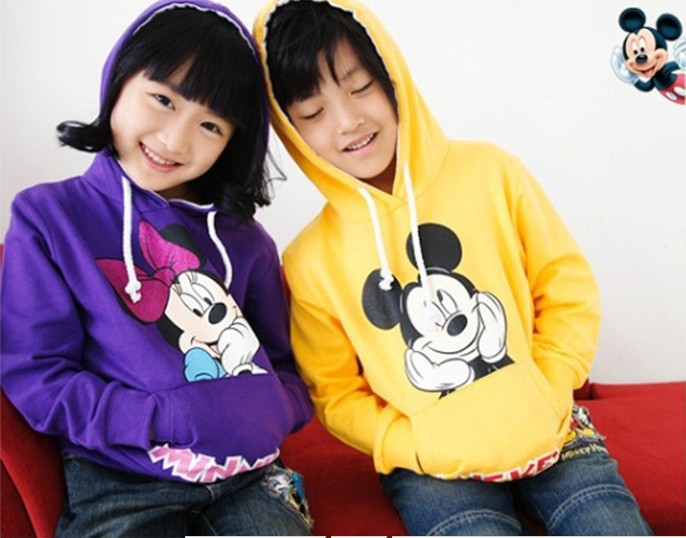 100% cotton 2013 children mickey logo hoodie free shipping Yellow, gray, blue, 3 PCS = 1 lot-in Hoodies & Sweatshirts from Apparel & Accessories on Aliexpress.com