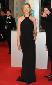 dress,gown,black,maxi dress,prom dress,rosamund pike