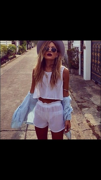 shorts tumblr outfit sunglasses top hat gloves cardigan