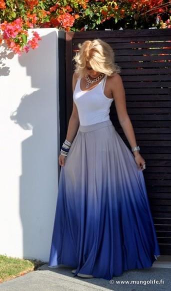 skirt ombre skirt maxi skirt blue ombré maxi