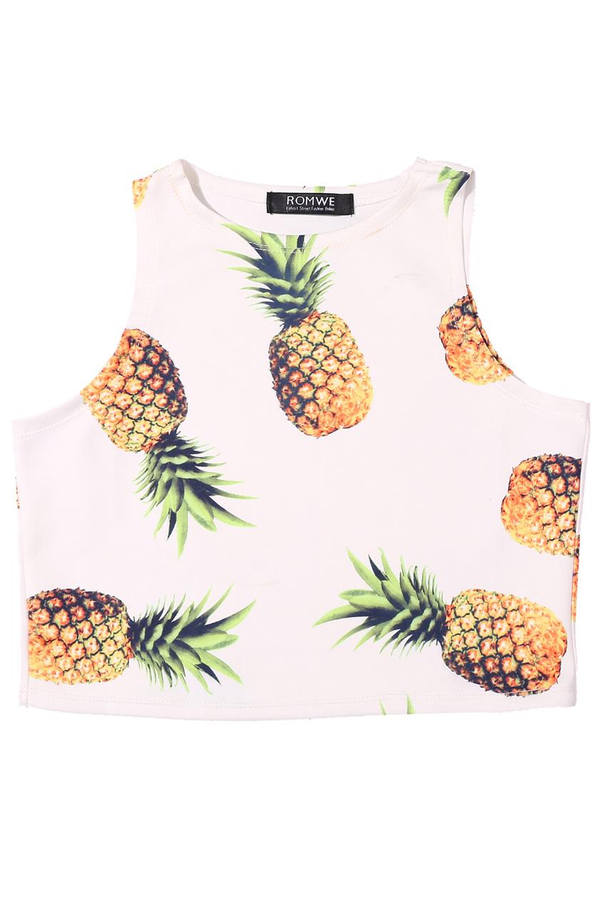 ROMWE | ROMWE Pineapple Print Sleeveless White Vest, The Latest Street Fashion