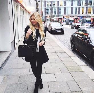jacket black jacket micheal kors bag black heels