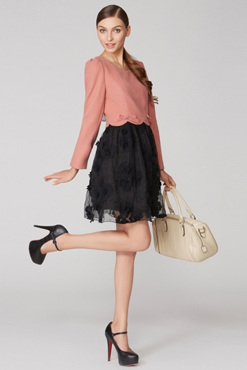 Color Stitching Dress with Bowknot [FXBI00415]- US$ 83.99 - PersunMall.com