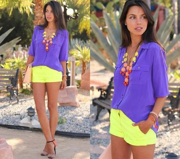 shorts top shirt purple button up shirt purple shirt button up bubble necklace neon shorts neon cute outfits outfit summer outfits yellow shorts yellow mini shorts