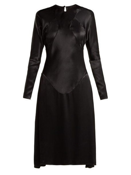 Vivienne Westwood Anglomania - Panelled Long Sleeved Satin Dress - Womens - Black