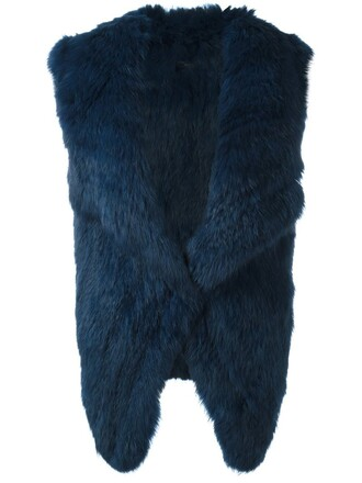 jacket fur jacket sleeveless open fur blue