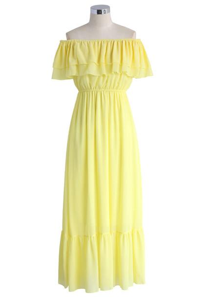 64a6d04b16cd dress blissful frilling off-shoulder maxi dress in yellow chicwish summer dress  maxi dress off