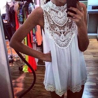 dress white lace crochet playsuit lace dress croshet white dress festival t-shirt top dentelle