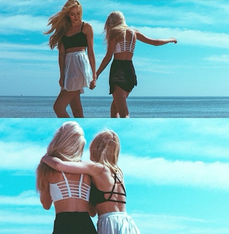 t-shirt lifestyle tank top crop tops summet spring beach cute black and white cut-out cute crop top