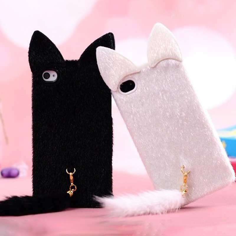 b88fda3bc9db81 Aliexpress.com : Buy Cute 3D Cat Cover Flannel Cloth Cat Ears Fur Tails  Protection Coque TPU Silicone Soft Phone Case For iPhone 5 5S SE 6 6S Plus  ...