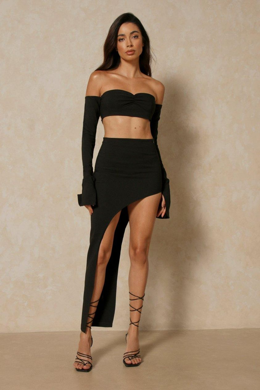 Black Premium Asymmetric Midi Skirt