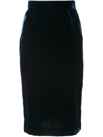 skirt pencil skirt women blue velvet