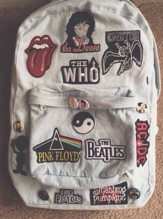 clothes bag grunge purse the beatles pink floyd the who acdc