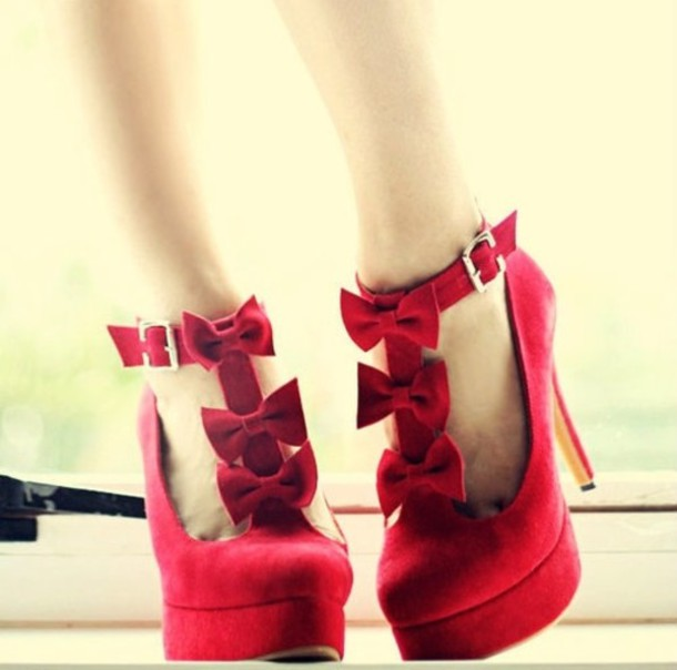 shoes heel high heels heels red bow bowtie tie high heels sexy fashion high heels