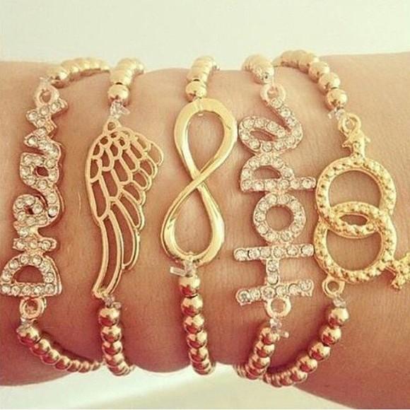 jewels bracelets infinity angel wings