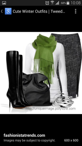 blouse skirt boots