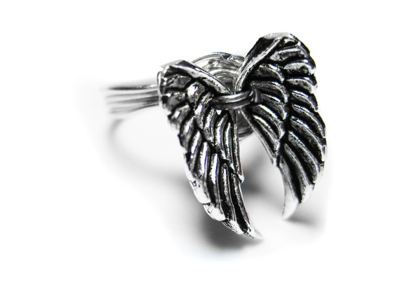 Winged ring silver angel wing wire wrapped ring par pila12903
