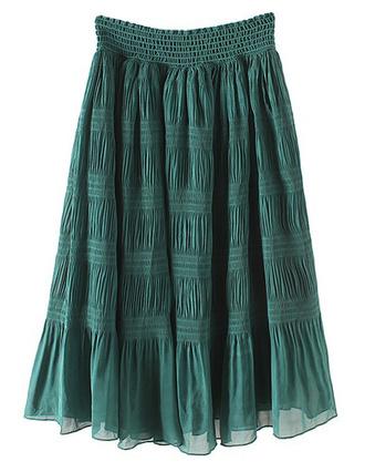 skirt green vintage boho brenda-shop pleated skirt
