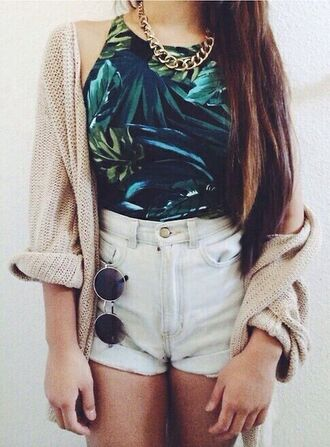 top summer top leaf print top high waisted shorts cardigan knitted cardigan socks shorts sunglasses