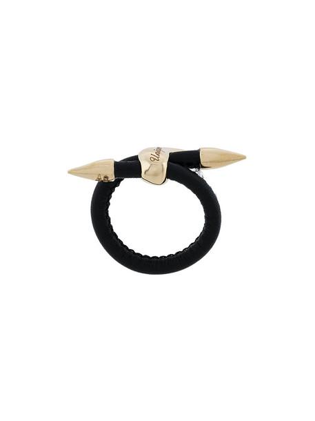 BEA BONGIASCA women ring gold leather black jewels
