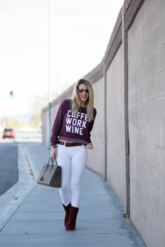 fashion addict blogger jeans sweater white jeans ugg boots saint laurent bag sports sweater graphic sweatshirt burgundy burgundy top bag grey bag ysl ysl bag handbag aviator sunglasses boots flat boots