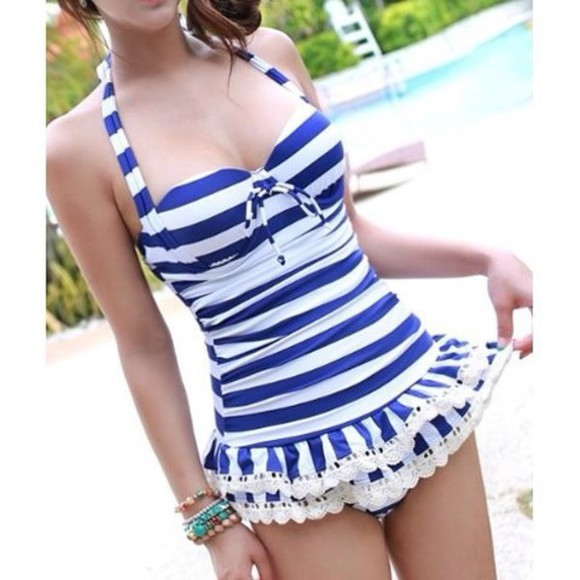 swimwear stripes lace ruffles fashion white blue stripes