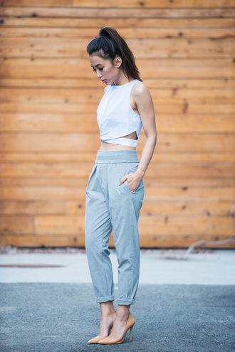 pants high waisted crop tops fashion girly spring summer outfit cut-out grey baby blue shoes mustard pleated pockets shirt top heels