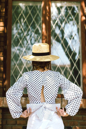 top,hat,tumblr,open back,backless,backless top,bow,bow top,polka dots,sun hat,open back top,sexy