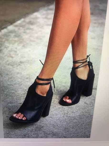 shoes black leather strappy heels block heels
