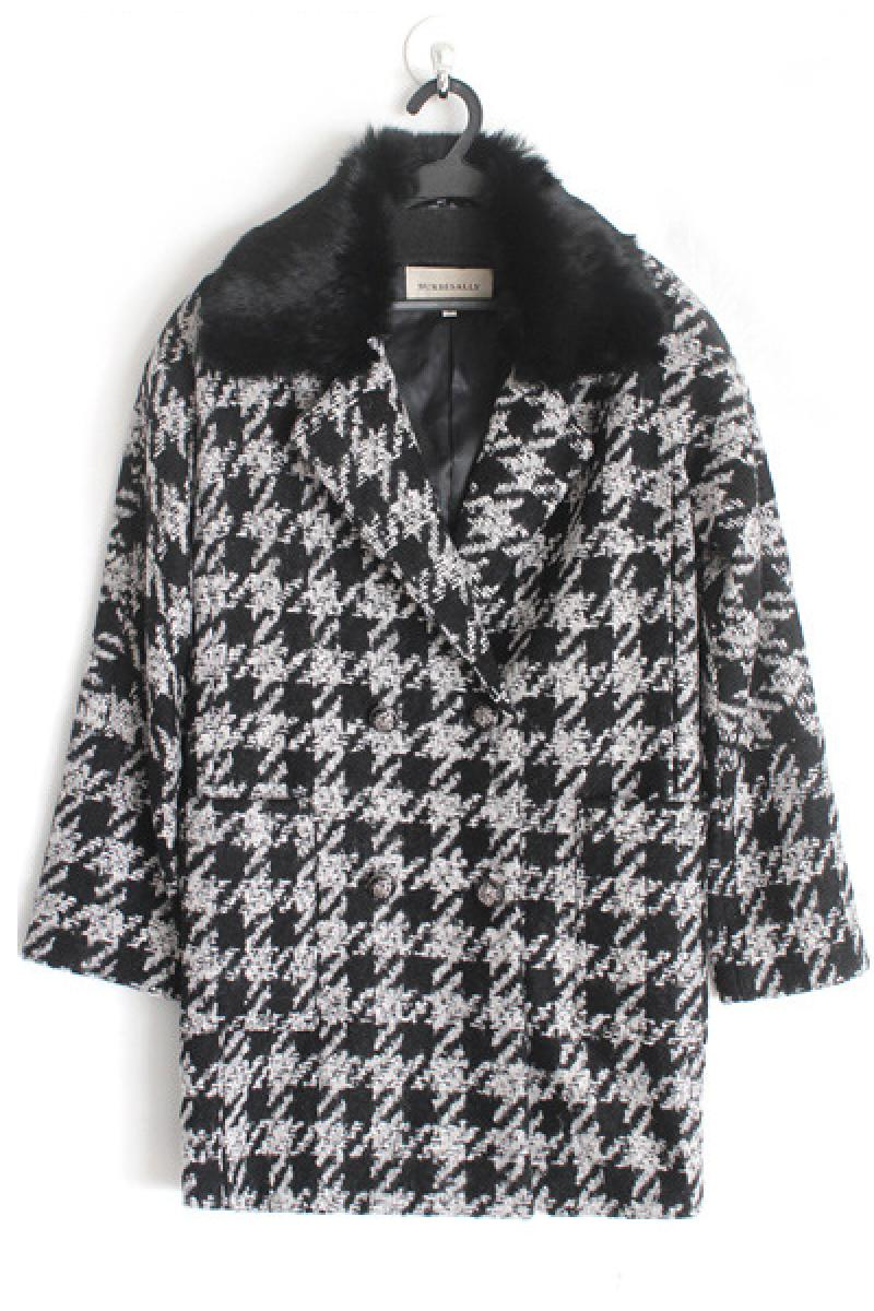 Autumn & Winter New Section Long Sleeve Lapel Swallow Grid Woolen Overcoat,Cheap in Wendybox.com