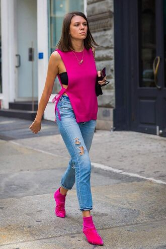jeans pink boots ripped jeans denim top pink top