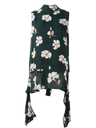blouse sleeveless floral print green top