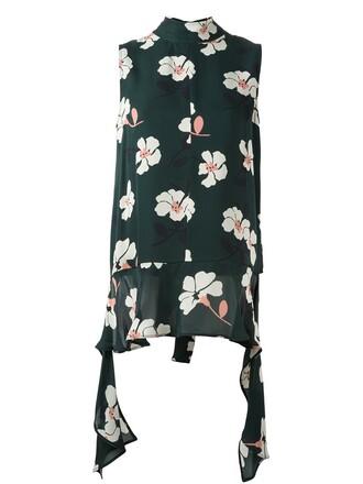 blouse sleeveless floral print green top