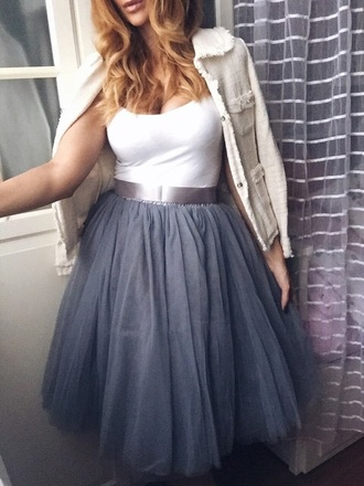 skirt prom fashion style trendy midi skirt girly tulle skirt grey musheng