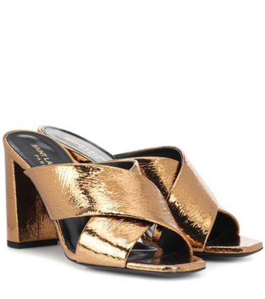 Saint Laurent Loulou 95 metallic leather sandals in gold