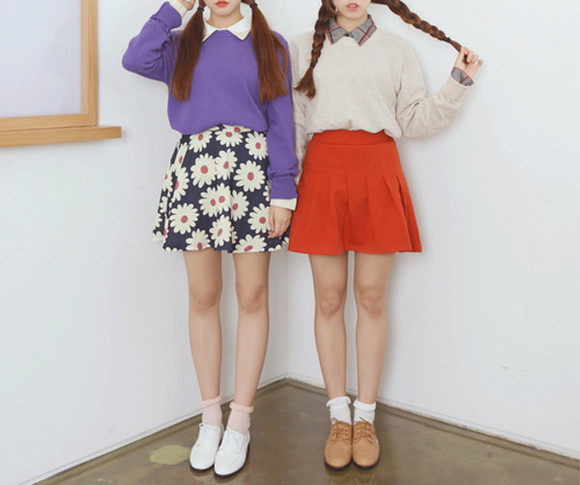orange skirt skirt shoes sweater purple purple sweater white white sweater girl tumblr fashion