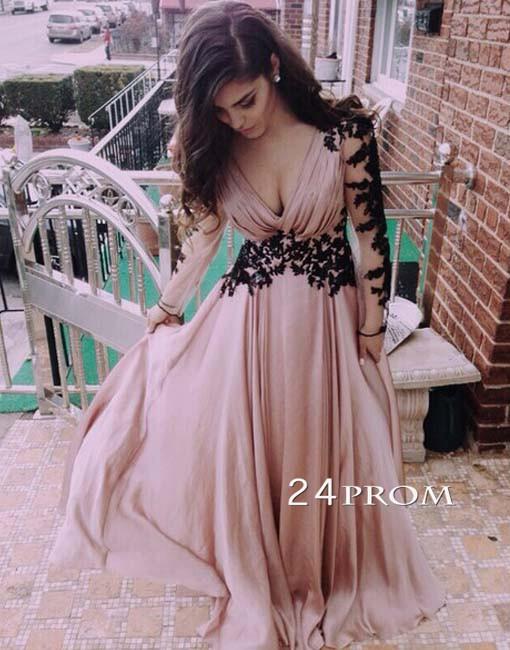Amazing sweetheart chiffon long lace prom dress, evening dress