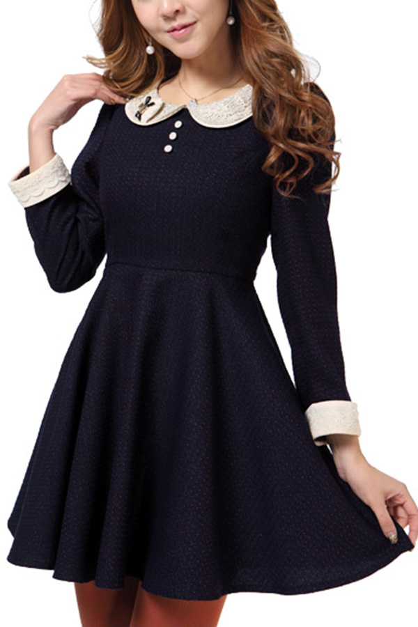 Korean Style Peter Pan Collar Long Sleeve Dress - OASAP.com