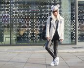 style lime light,blogger,pom pom beanie,leather leggings,adidas shoes,shearling jacket,off-white,sweater,jacket,leggings,hat,shoes