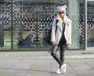 style lime light blogger pom pom beanie leather leggings adidas shoes shearling jacket off-white
