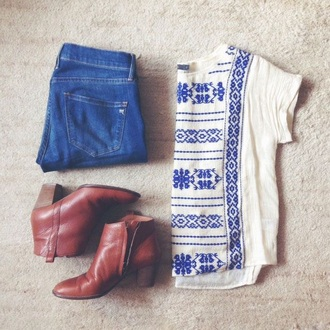 shirt blue white blue and white peasant top
