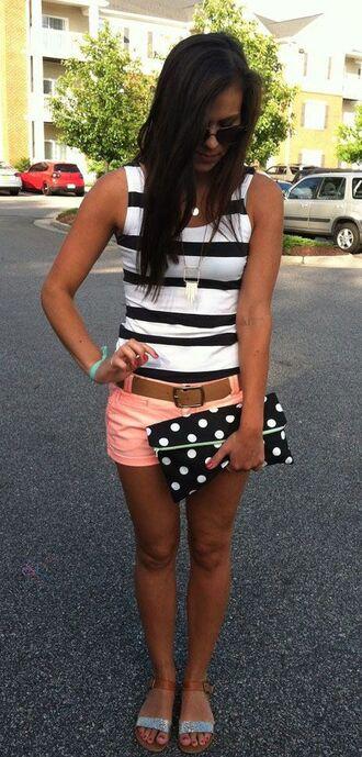 shorts stripe blouse peach polka dots stripes