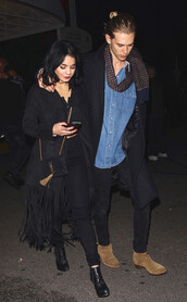 coat,fringe coat,vanessa hudgens,celebrity style,celebrity,streetstyle,fringes,suede,suede coat,suede jacket,fringed jacket,winter outfits