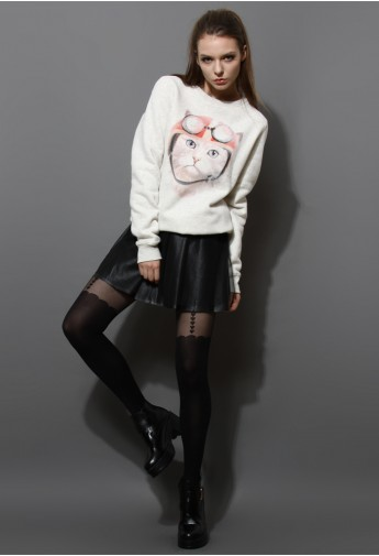 Cat Print Sweater in Grey - Retro, Indie and Unique Fashion