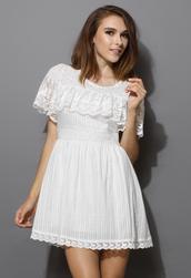 dress,ruffle,lace,white,women,crochet,chic