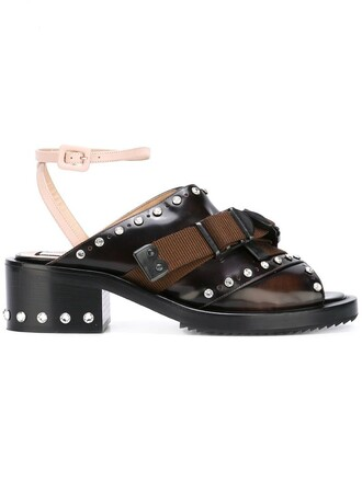 studded women sandals leather cotton brown shoes